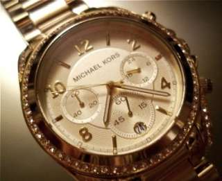 Authentic MICHAEL KORS GOLD Jet Set RUNWAY CHRONOGRAPH Watch Bracelet