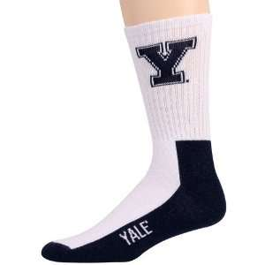 Yale Bulldogs White Navy Blue Team Logo Crew Socks Sports