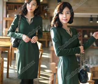 Evening Party Womens Long Sleeve Slim Dress With Belt 3 Colors