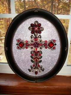 Red Garnet Rhinestone Jewelry Christmas Tree Framed Cross Art