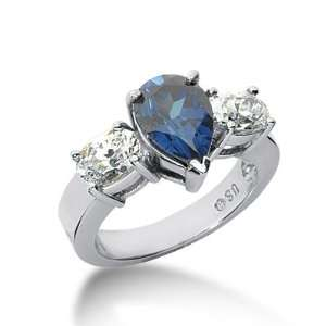 Diamond Sapphire Ring Engagement Pear Cut Prong Fashion 14k White Gold