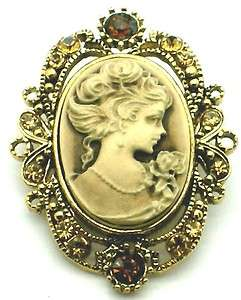 Elegant Victorian Style Gold Tone Cameo Brooch Pin New