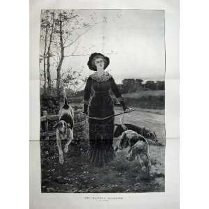 Art 1883 Country Woman Hound Dogs Fence Trees Road
