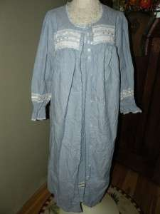 Coldwater Creek Size M Vintage Look Nightgown & Robe Set Blue Chambray