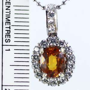Yellow Sapphire Sterling Silver Plated White Gold Pendant THAILAND P1
