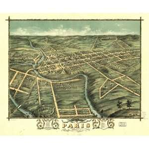 Map Birds eye view of the city of Paris, Bourbon County, Kentucky