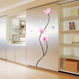 Removable Wall Decor Sticker Wall Decal   Pink Flower stem Room decor