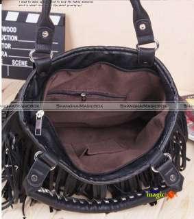 Women Fashion Vintage Tassel Handbag Crossbody Shoulder Bag Black New