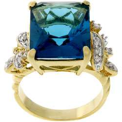Kate Bisset Two tone Emerald cut Blue CZ Cocktail Ring