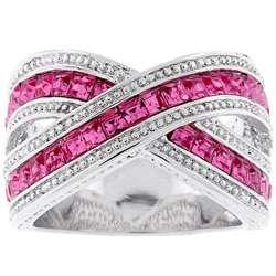 Kate Bisset Silvertone Criss cross Pink Cubic Zirconia Ring