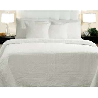 Adele Cotton Full/Queen size White Quilt Set
