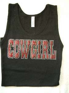 Western Rhinestone Cowgirl Tank Top S M L Ladies Shirt