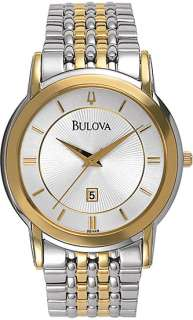 Bulova 98H48 Mens Watch Stainless Steel Two Tone Dress Silver Dial