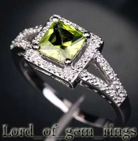 04ct Princess Cut Peridot 14K White Gold Pave Diamond Halo