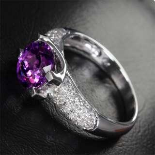 AMETHYST PAVE .81ct SI DIAMOND 14K WHITE GOLD Engagement Wedding RING