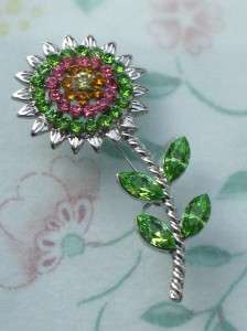 VINTAGE STYLE PINK GREEN CRYSTALS SUN FLOWER PIN BROOCH