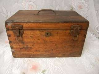 Primitive Antique Hand Made Wooden Box Joint Tool Case