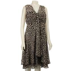 SALE Donna Ricco Womens Plus Size Animal Print Dress  Overstock
