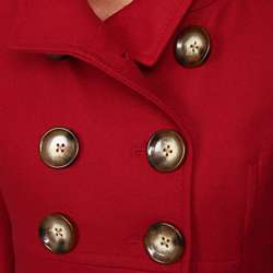 Anne Klein Womens Wool Blend Babydoll Coat