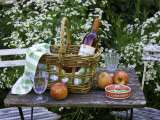 Still Life with Wine, Cheese and Apples, in the Garden of a House in