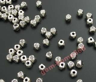 400 Tibetan Silver Cute Faceted Cube Beads Spacers B585