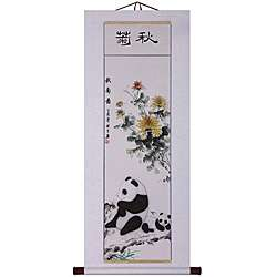Panda and Flower Wall Art Scroll Painting (China)