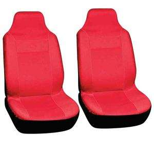 2pc Car Seat Covers Set Solid Red High Back Buckets Integrated Racing