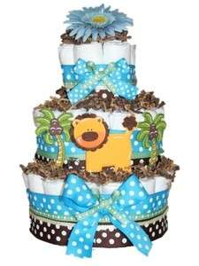 and Brown Lion Jungle Themed Diaper Cake Baby Shower Center Piece L@@K