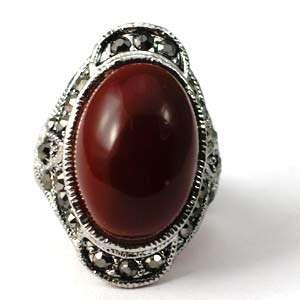 d7079 Size 9 Tibetan Silver Red Jasper Gemstone Diamante Zircon Finger