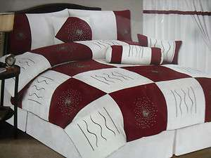 KING BURGUNDY MICRO SUEDE COMFORTER SET SPREAD BED IN A BAG NEW