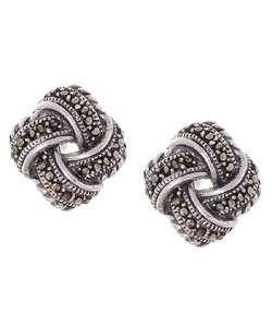 Sterling Silver Marcasite Love Knot Earrings