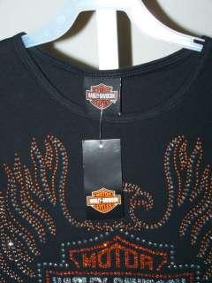 Davidson S Bling Tee Shirt Rhinestone Logo Motorcycle Top