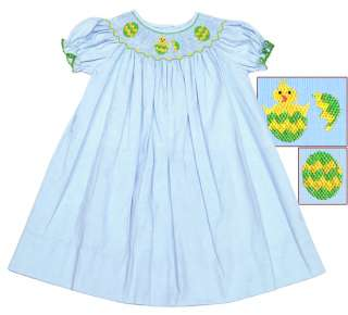 Blue Beautiful Easter Smocked Bishop Dress 3m   4T