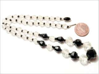 ANTIQUE CZECH CUT CRYSTAL glass beads NECKLACE MARKED
