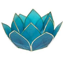 Capiz Shell Lotus Turquoise Tea Light Holder (Philippines)
