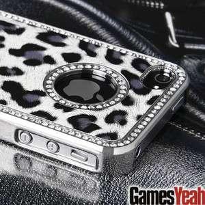 Luxury Bling Rhinestone Leopard Hard Case Cover For ATT Verizon iPhone