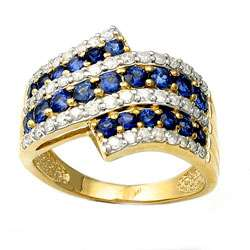 14k Yellow Gold Blue Sapphire and 1/2ct TDW Diamond Ring (H I, I2