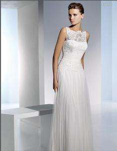 high neck Lace Wedding Dress Bridal Gown Size 4 6 8 10 12 16