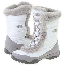 The North Face Womens Nuptse Faux Fur II White/Foil Grey Boots