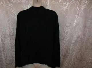 EILEEN FISHER Black Viscose Blend Button Down Shirt Top M