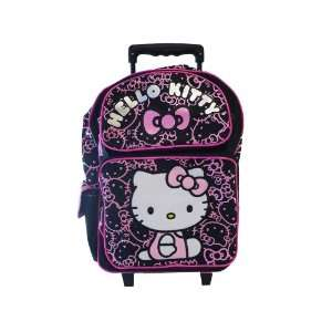 HELLO KITTY ROLLING BACK PACK   Black with Pink Glitter ( Full Size )