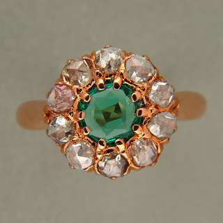VICTORIAN 14K PINK GOLD NATURAL BERYL EMERALD ROSE CUT DIAMOND RING