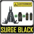 NEW LEATHERMAN SURGE BLACK MULTI TOOL + PREMIUM SHEATH + 42 BIT KIT