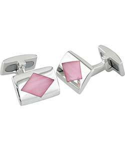 Sterling Silver Pink Cats Eye Cuff Links