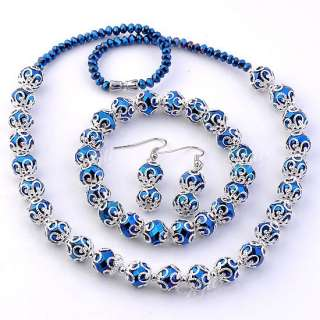 Colors Faceted Crystal Glass Round Flower Beads Necklace Bracelet