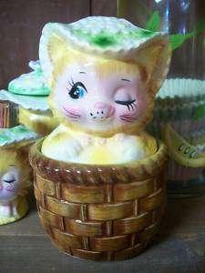VINTAGE ENESCO WINKIN KITTY KITTEN CAT MISS PRISS JAM JELLY CONDIMENT