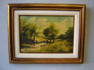 Nice antique oil on canvas landscape painting # 01946