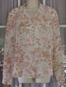 Alfred Dunner Womens L Pink Floral LS Polyester Blouse