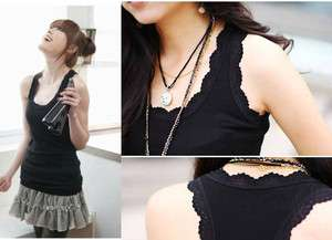 Womens Sleeveless Lace Girls Tank Tops Ladies T Shirt Waistcoat