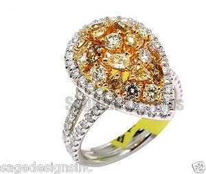 Fancy Yellow and Pink Diamond Multi Color Multi Cut Diamond Pear Shape